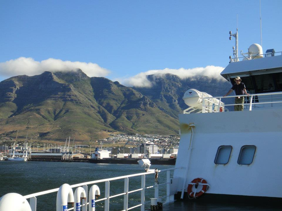 View of Table Mountain as RRS James Cook leaves Cape Town